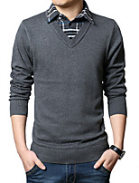 Men's Casual Shirt Collar False Two Knitted Pullover,Wool / Cotton Long Sleeve Black / Gray