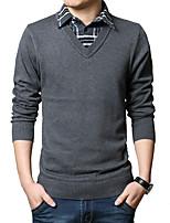 Herren Pullover-Verziert Freizeit / Übergröße Wolle / Baumwolle Lang Schwarz / Grau