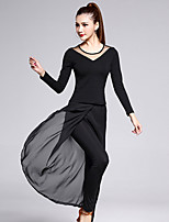Latin Dance Outfits Women's Training Chiffon / Cotton / Tulle / Milk Fiber 2 Pieces Black Long Sleeve Top / Pant