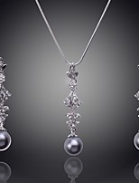 Fashion Jewelry Sets 18k Gold Plated Crystal Pendant Necklace Earring Pearl Jewlery For Women