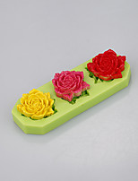 Three cavity silicone mold cake decorating tools fondant cake baking cup with flowers shape