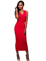 Women's Casual/Daily / Club Sexy / Simple Hollow Out Backless  Bodycon DressSolid V Neck Midi Sleeveless Red