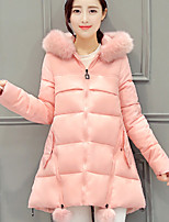Women's Solid Blue / Pink / Red / Black / Gray Padded Coat,Street chic Round Neck Long Sleeve