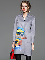 CELINEIA Women's Going out Street chic CoatPrint Stand Long Sleeve Spring / Fall Gray Polyester / Spandex Opaque