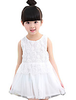 Girl's Going out Solid Dress,Others Summer White / Gray