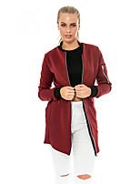 Damen Solide Retro Lässig/Alltäglich Jacke,Ständer Alle Saisons Langarm Rot / Schwarz Polyester Mittel