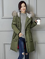 Women's Solid Red / Black / Green Padded CoatStreet chic Hooded Long Sleeve