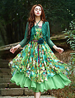 Our Story Women's Going out Sophisticated Sheath DressFloral Strapless Midi Sleeveless Green Polyester Summer High Rise