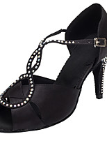 Women's Dance Shoes Latin Ballroom Salsa Dancing Shoes Satin Rhinestone Customized Heel Professional Black / White