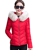 Fall Winter Going out Casual Women's Padded Coat Solid Color Slim Down Jacket Hooded Long Sleeve