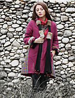 Our Story Women's Long Padded CoatBoho Going out Polka Dot / Plaid-Cotton Cotton Long Sleeve V Neck Purple