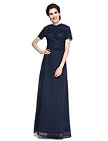 Sheath / Column Mother of the Bride Dress - Elegant Floor-length Short Sleeve Chiffon / Lace with Lace