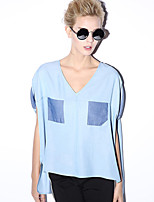 NEW BEFORE  Women's Casual/Daily Simple Summer BlouseColor Block V Neck Short Sleeve Blue Rayon Opaque