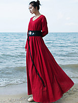 Ramie Cotton Women's Casual/Daily Simple Loose DressSolid V Neck Maxi Long Sleeve Red / White / Black