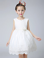 Ball Gown Knee-length Flower Girl Dress - Cotton / Lace / Tulle Short Sleeve Jewel with Beading / Flower(s) / Lace