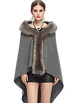 Women's Wrap Capes Sleeveless Faux Fur Black / Gray / Khaki / Almond Party/Evening / Casual Shawl Collar