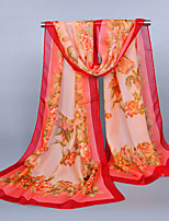 Women's Chiffon Flowers Print Scarf Red/Fuchsia/Yellow/Blue/Black