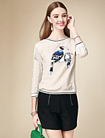 DOF Women's Casual/Daily Simple Short HoodiesPrint Beige Round Neck  Sleeve Cotton Fall Thin Inelastic