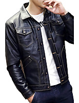 Men's Long Sleeve Casual / Plus Size Thick Leather Jackets PU / Polyester Solid Black / Brown 6Sizes M-5XL