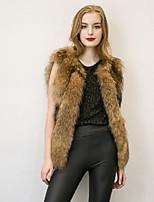 Женский На каждый день / Большие размеры Однотонный Пальто с мехом V-образный вырез,Уличный стиль Зима Черный / Желтый Без рукавов,