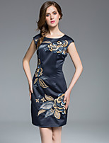 MASA  Women's Plus Size / Going out Street chic / Sophisticated Bodycon DressEmbroidered Round Neck