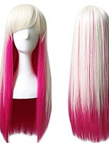 Lolita Fashion Pink Mixed White Color Long Straight Silky Beauty Wigs Anime Cosplay Party Natural Hairs Heat Resistant