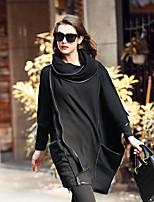 LUTING Women's Crew Neck Long Sleeve Sweater & Cardigan Black / Gray / Yellow-7443