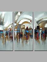 Ручная роспись Абстракция / фантазия Картины маслом,Modern / Европейский стиль 3 панели Холст Hang-роспись маслом For Украшение дома