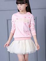 Girl's Casual/Daily Print Dress / Clothing SetCotton Fall Pink / Gray