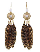 Earring Others Drop Earrings Jewelry Women Fashion / Bohemia Style Party / Daily / Casual Alloy / Feather 1 pair Brown KAYSHINE