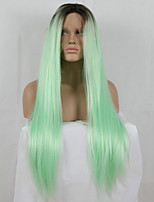 Fashion Ombre Mixed Green Long Straight Synthetic Lace Front Wig Glueless TwoTone Dark Black/Green Women Wigs