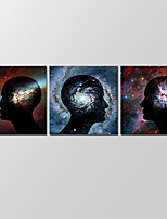VISUAL STAR®Abstract Space Wall Art for Home Decor 3 Panels Giclee Print on Canvas Ready to Hang