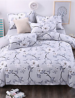 Bedtoppings Comforter Duvet Quilt Cover 4pcs Set Queen Size Flat Sheet Pillowcase Grey Flower Prints Microfiber