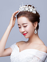 Bride's Flower Rhinestone Pearl Wedding Hair Accessories Crown Tiaras Headpiece 1 Pieces