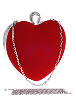 Women Evening Bag Polyester All Seasons Wedding Event/Party Formal Party & Evening Club Heart Shaped Rhinestone Clasp Lock Red Black