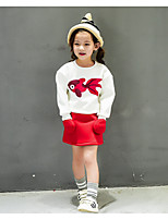 Girl's Casual/Daily Print Clothing SetCotton / Rayon Spring / Fall White