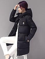 Пальто Простое Обычная Пуховик Женский,Однотонный На каждый день Другое Пух белого гуся,Длинный рукав Капюшон Розовый / Черный / Серый