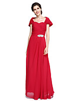 Lanting Bride®Sheath / Column Mother of the Bride Dress Floor-length Chiffon with Criss Cross / Crystal Brooch / Ruching