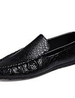 Men's Loafers & Slip-Ons Spring / Fall Comfort PU Casual Flat Heel Slip-on Black / White Sneaker