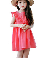 Girl's Casual/Daily Solid DressCotton Summer Red / Yellow