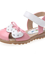 Girl's Sandals Summer Leather Casual Flat Heel Bowknot Pink White Peach Others
