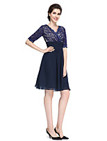 A-line Mother of the Bride Dress Knee-length Half Sleeve Chiffon / Lace with Lace / Ruching