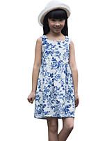 Vestido Chica de-Casual/Diario-Estampado-Algodón-Verano-Azul