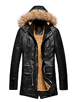 Men's Long Sleeve Casual / Plus Size Leather Jacket Draw string PU Add Wool Solid Black / Brown Hooded Warm Long Coat