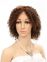 Short Kinky Curly Medium Brown Color 4#  100% Human Virgin Hair Lace Front Wigs With Baby Hair
