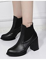 Women's Boots Spring Fall Winter PU Outdoor Chunky Heel Others Black Burgundy Other