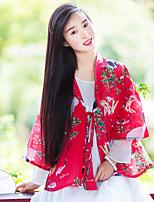 Женский На каждый день Весна Куртка V-образный вырез,Шинуазери (китайский стиль) Цветочный принт / С животными принтами КрасныйДлинный