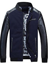 Men's Long Sleeve Casual JacketPolyester Solid Black / Blue