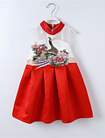 Girl's Casual/Daily Patchwork DressCotton / Polyester Summer / Spring Multi-color