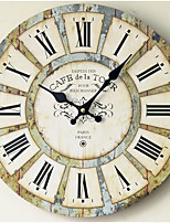 Modern/Contemporary / Country / Casual Family Wall ClockRound Wood 35*35*3 Indoor/Outdoor / Indoor / Outdoor Clock